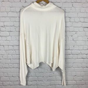 FREE PEOPLE Turtleneck White Asymmetrical Top S